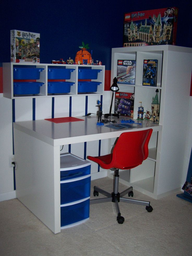 lego station all items from ikea except rolling storage under desk