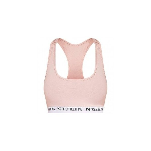 PrettyLittleThing Nude Sports Bra ❤ liked on Polyvore featuring activewear, sports bras and pink sports bra