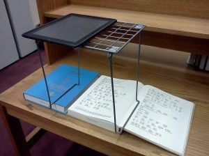 My blog post about test driving a locker shelf as an iPad scanning stand.
