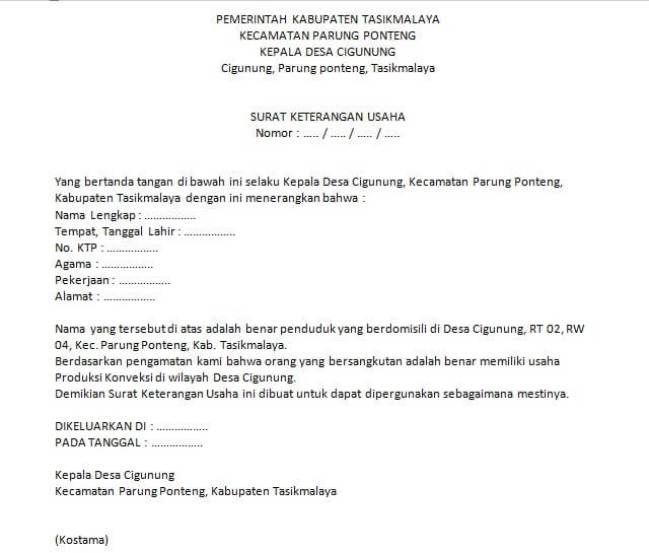 Contoh Surat Keterangan Usaha Mikro Surat Pengusaha Pemerintah