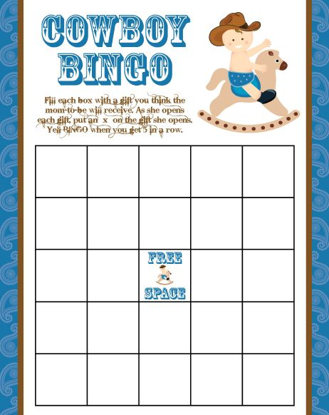 Here you have the free cowboy baby shower bingo game printable. Get it all here: http://printmybabyshower.com/6-steps-to-a-cowboy-baby-shower-theme/ #cowboy #babyshower