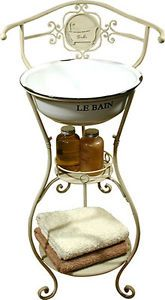New Shabby Chic Vintage Style Bathroom WASH STAND VANITY UNIT with Sink in Cream | eBay