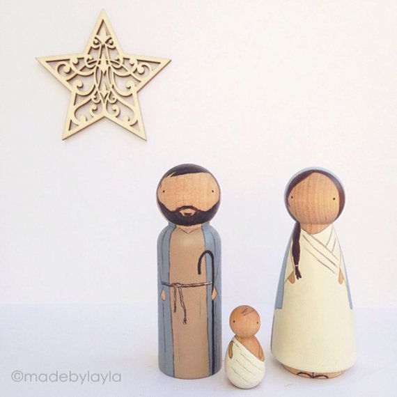 Beautiful peg doll Nativity set to celebrate Christmas. Great gift for children and adults. Use for display OR for playtime recreating a beautiful
