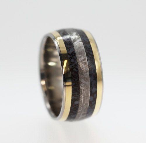 Dinosaur Bone ring Gibeon Meteorite ring and two 14K Gold Inlays - Signature Series