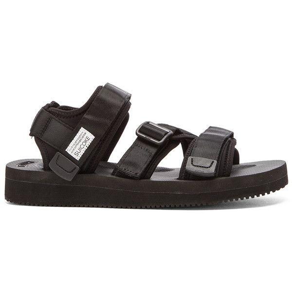 Suicoke KISEE-V Sandal (1,170 CNY) ❤ liked on Polyvore featuring men's fashion, men's shoes, men's sandals, sandals, mens monk strap shoes, mens strap sandals, mens velcro sandals, mens velcro strap shoes and mens velcro shoes