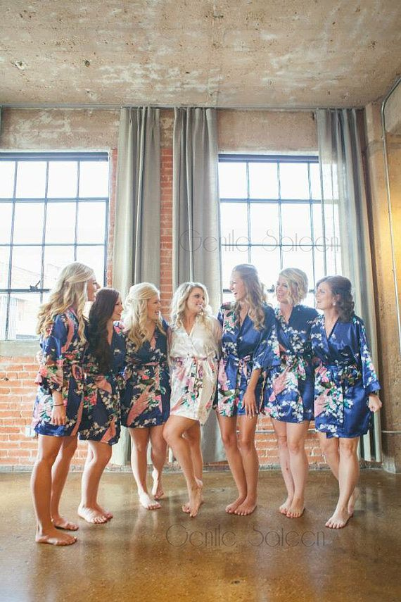 Set of 6 Bridesmaid Satin Robes, Kimono Robe, Fast Shipping from New York, Regular and Plus Size Robe