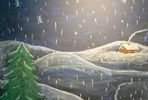 chalk and northern lights/snow