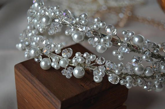 Stunning hair tiara will be best addition for your hair style. Special design! Ready to ship! Made with: glass beads, pearl beads, silver color wire and double headband. Fully handmade. For any questions please contact, I will be happy to help you! Thank you for visiting my shop!