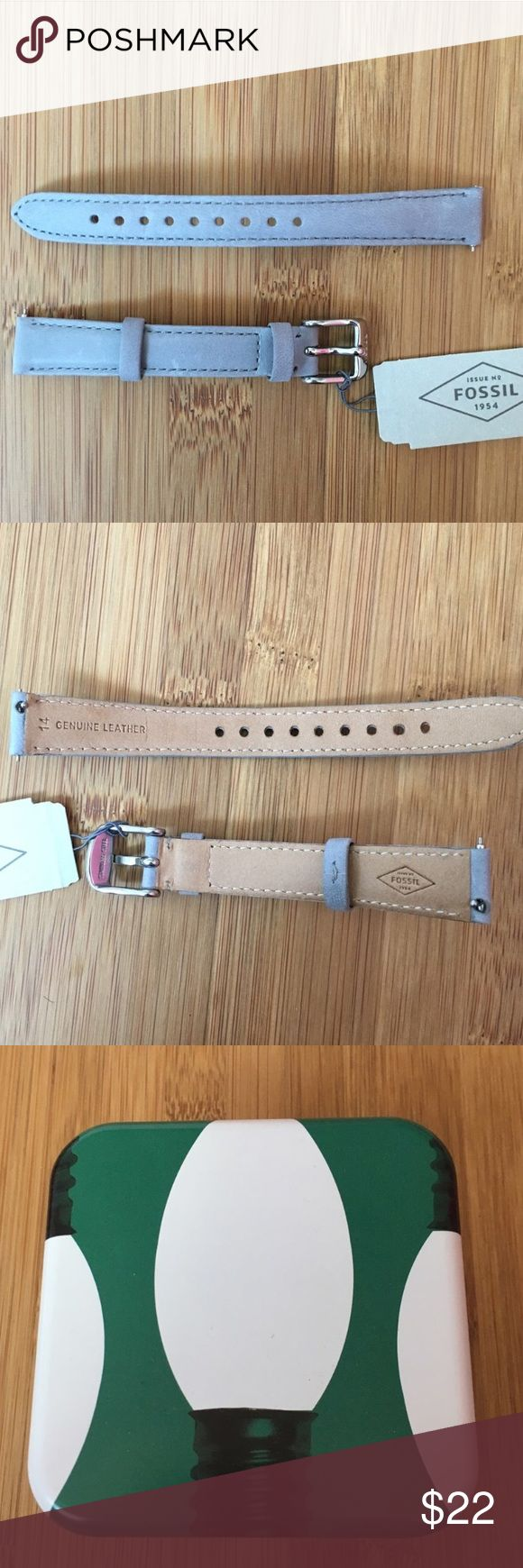 Gray leather Fossil watch strap! Genuine Leather 14mm New with tag Includes Fossil Tin! 🕰  #fossil #watchstrap #strap #band #watch #womens #14mm #newwithtags #gray #tin #fossiltin Fossil Accessories Watches