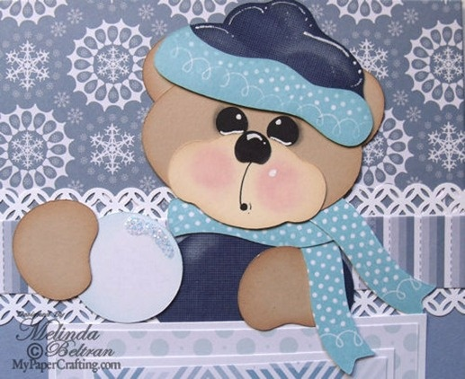 Cricut Paper Piecing Cartridge Critters Snow bear holding snow ball paper piecing. Created with the Artiste cartridge. Direct Link: http://www.mypapercrafting.com/2013/01/artisteshowcase.html