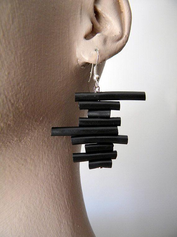 Black rubber earrings minimal abstract geometric by BlackRedDots