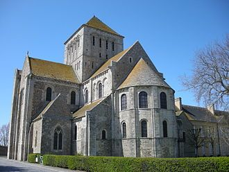 Lessay Abbey, Normandy, France. Characteristically Romanesque with the use of rounded arches in the windows.