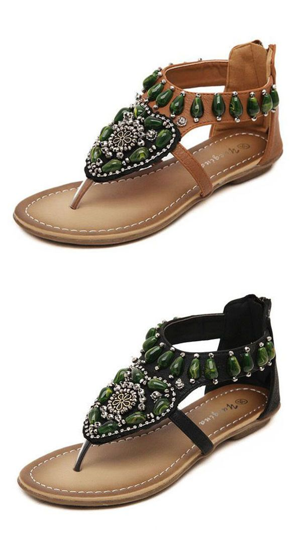 US$24.57 Green Rhinestone Bohemia Clip Toe Zipper Retro Sandals