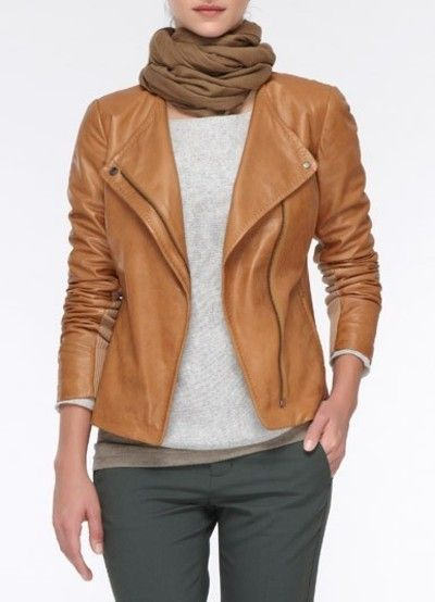 Tan leather   Tailored jacket
