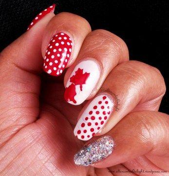 Canada Day Skittlette Mani 2/6 #nail #nailart #dotticure #polkadot #canadaday #whatsupnails #nailvinyl #nailstencil #mapleleaf #canadaflag #glitterbomb #skittlette
