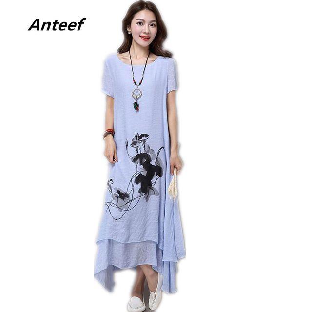 fashion cotton linen plus size vintage print women casual loose long summer dress vestidos femininos party 2017 dresses