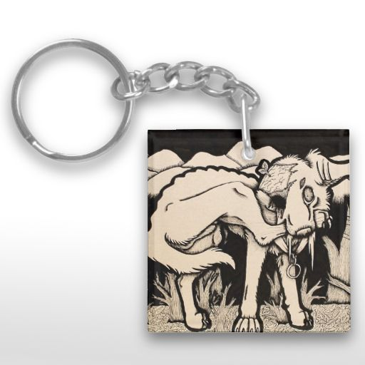 """Runt"" Black and white Gothic dog Keychain"