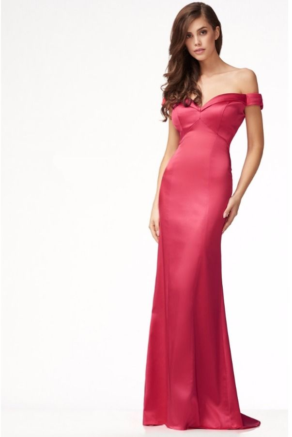 Mon Cheri Sexy Off The Shoulder Silk Scarlet Red Prom Dress ...