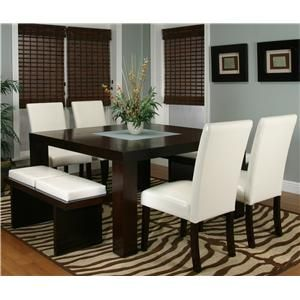 The kind DH and I waaant! Contemporary Design - Kemper Square Dining Table with Frosted Glass Insert