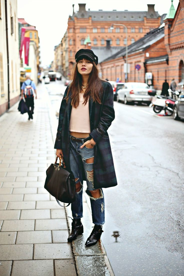 Natalie Off Duty during Stockholm Fashion Week wearing the VEDA Blue Coat in plaid and the VEDA Lyell leather camisole in petal pink