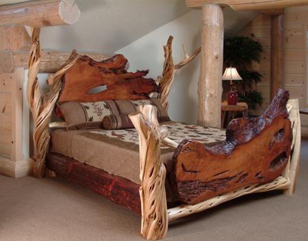 Log Furniture - Burl Aspen 4 Post Log Bed with Elk Markings - for my mountain cabin/lodge
