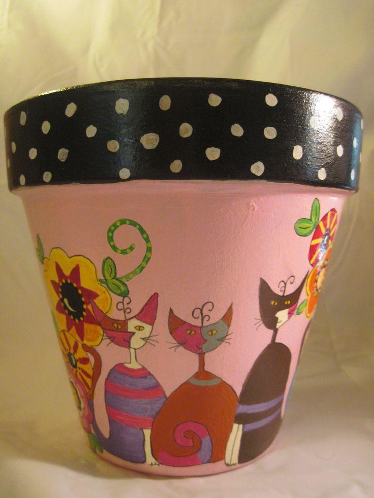 hand painted flower pot cats in the by DeborahsTrailerTrash, $35.00