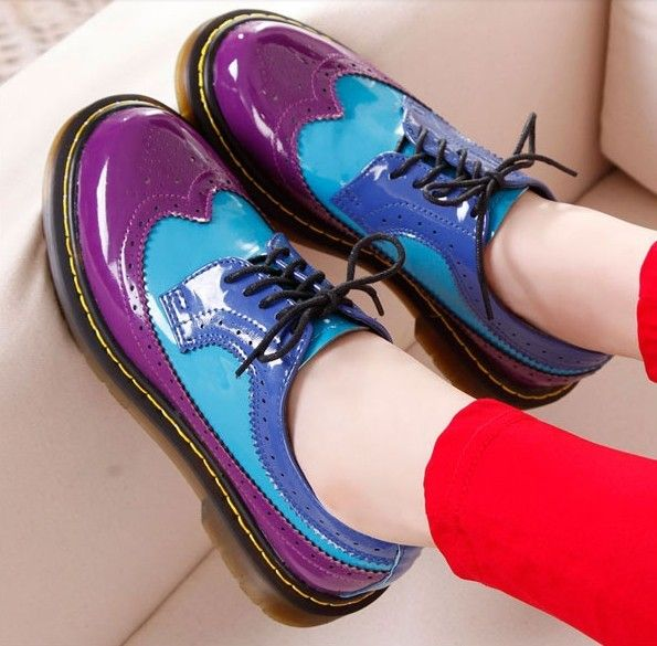 Vintage Brockden Stitching Lace Up Creepers Platform Shoes 2014 Spring British Female Casual Leather Flats Oxford Shoe For Women