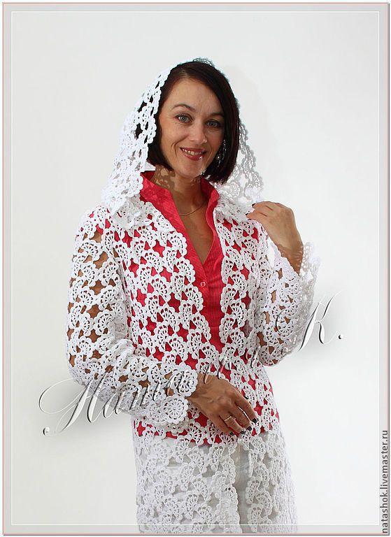 Купить Кружевной водопад - белый, пальто, пальто женское, кружево, кружева, кружево хлопок