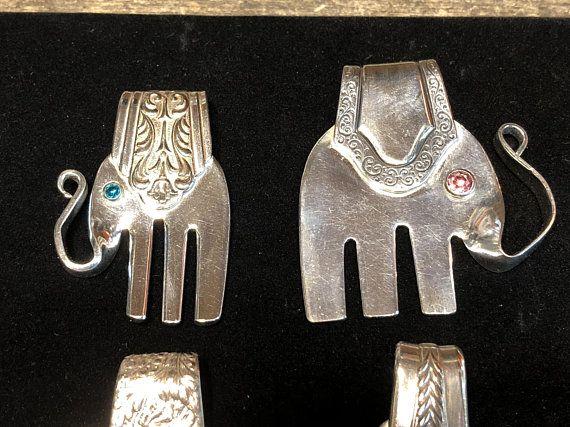 Vintage Fashion Antique Silver Plated Fork Necklace ELEPHANT
