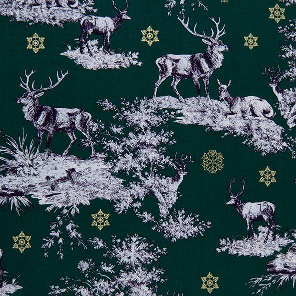 Vánoční bavlněná látka jeleni na tm. zelené