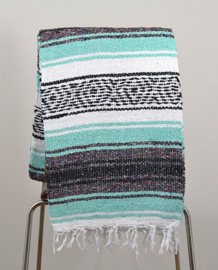 Mexican Blanket Premium Mint & Grey Yoga Blanket, Hand Woven, Sarape Throw