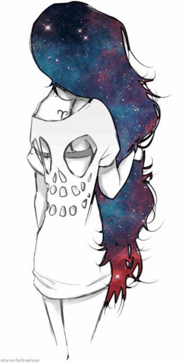 Galaxy hair and skull dress drawing
