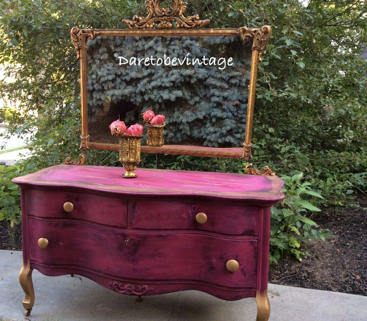 Vintage Vanity - Painted Vanity - Painted Dresser - Shabby Chic Dresser - Real Milk Paint Company - Gypsy Pink - Hollywood Regency Dresser - Painted furniture - We hand painted this piece using Milk Paint in this Gorgeous Gypsy Pink Color and added a vintage gilded gold mirror- Bohemian Style