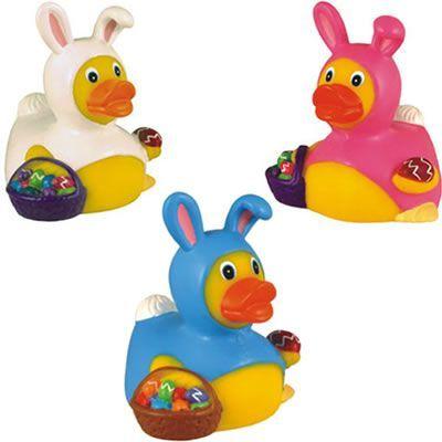 Rubber Easter Bunny Duck #ducks #advertising | Promotional Rubber Duck | Imprinted Ducks