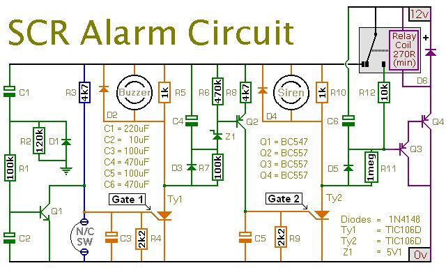 scr alarm circuit | electronics | pinterest common house wiring alarm pump house basic house wiring #14