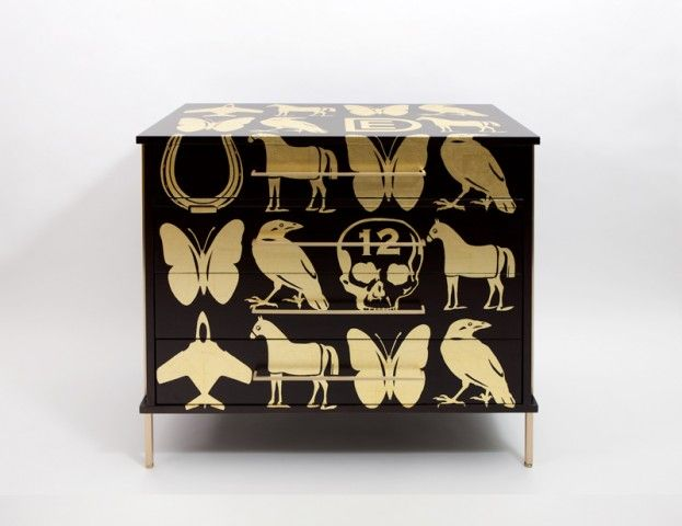 Leaf pattern united states 2012 limited edition ebonized walnut dresser by regeneration with hand applied gold leaf pattern by pop artist dylan egon