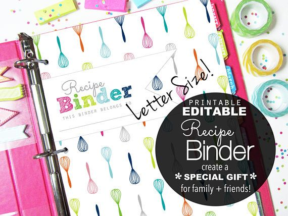 Editable Recipe Book Binder, Printable Planner Pages on Etsy by Clean Life and Home.  Makes a great wedding shower gift!