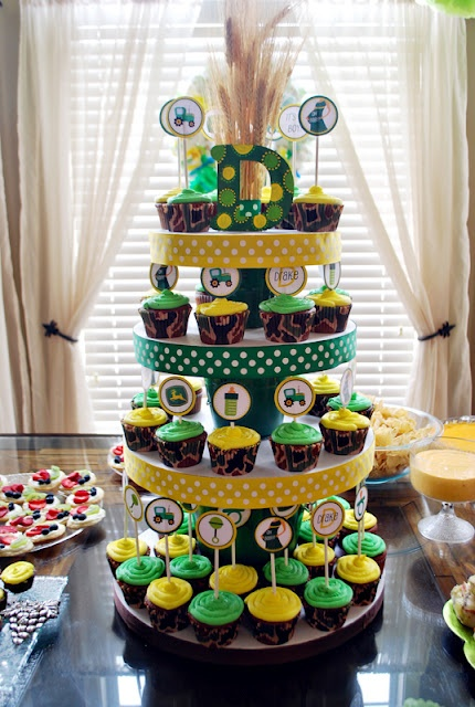 John Deere Baby Shower Cupcake Tower..if i ever have a baby boy, this is the theme!