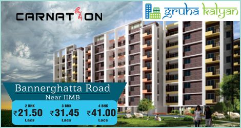 Gruhakalyan, CARNATION at Bannerghatta Road Near IIMB Flats Available, Price Starts From 2BHK 21.50 Lakhs, 3BHK 31.45 Lakhs & 4BHK 41 Lakhs.