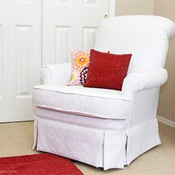 Re-Upholstery 101. Check out this tutorial on how I re-upholstered a swivel rocking chair.