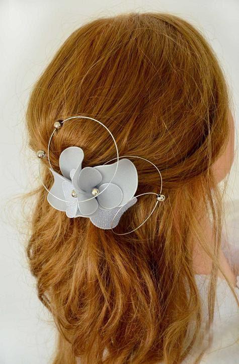 Silver hair pin Silver fascinator Bridesmaid hair flower Silver headpiece Bridal hair piece Flower girl headpiece by #MyArtDeco