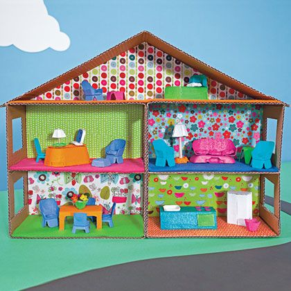 dollhouse made from cardboard boxes and egg cartons