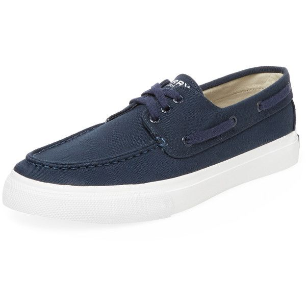Sperry Men's Bermuda 3-Eye Boat Shoe - Dark Blue/Navy, Size 10 ($45) ❤ liked on Polyvore featuring men's fashion, men's shoes, men's loafers, sperry mens shoes, mens boat shoes, mens navy shoes, mens shoes and sperry top sider mens shoes