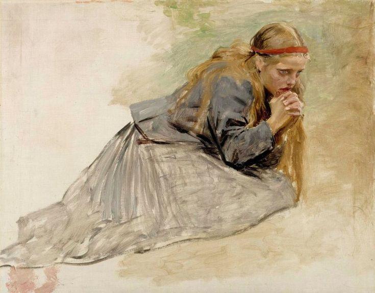 Mary Magdalene Kneeling Study for Kristus ja Mataleena Albert Edelfelt 1890
