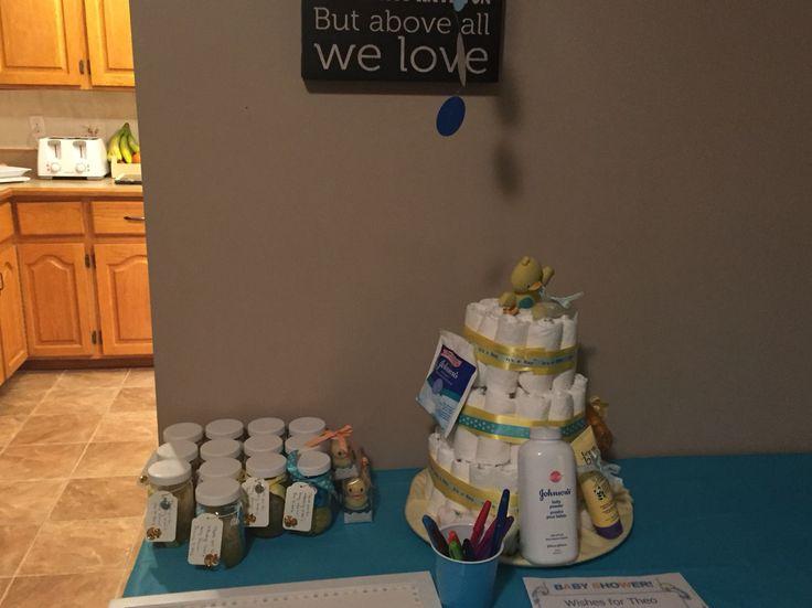 Diaper cake and body scrub favors