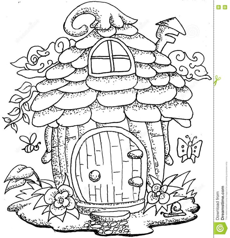 Cute Fairy Tale Doodle Mushrooms House For Coloring Book