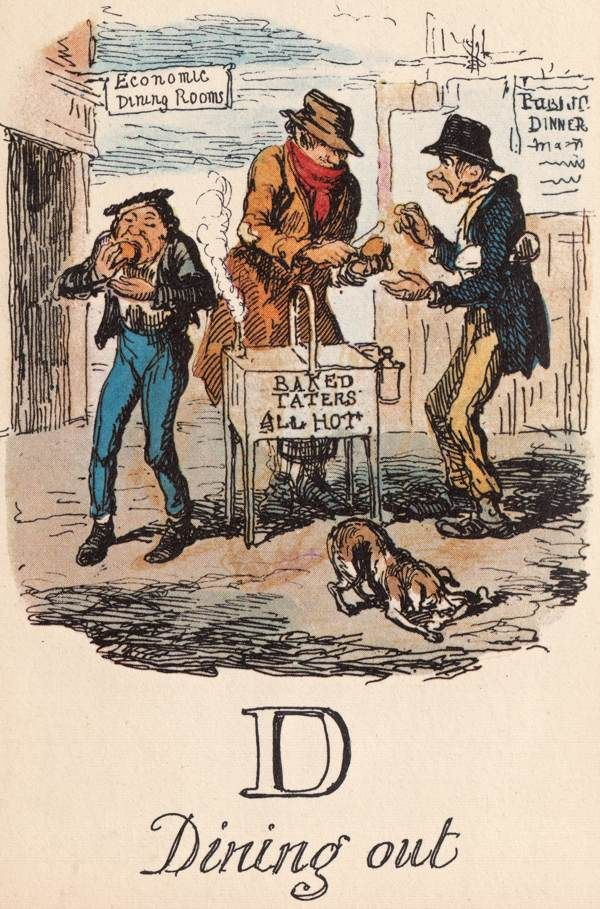 """D: Dining out"" from ""A Comic Alphabet"" by George Cruikshank (1836)"