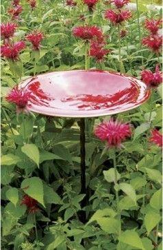 Red Enamel Birdbath With Wrought Iron Twist Stake - eclectic - bird baths - Bellacor