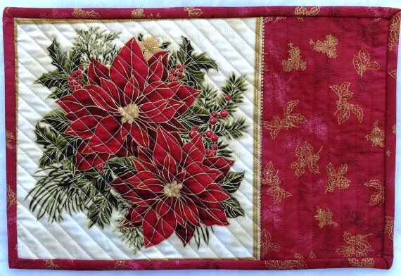 Christmas quilted placemat or mug rug, red poinsettias. Xmas handmade patchwork placemat, CIJ
