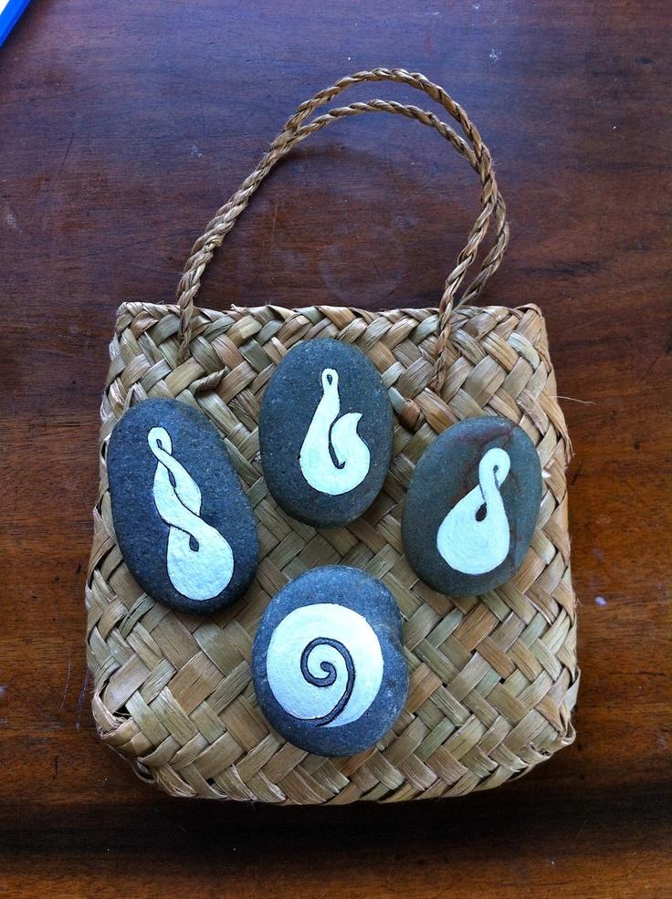 Maori Symbols on MagaMerlina's pebbles.
